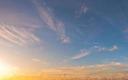 Фото небо, облака, солнце, блики