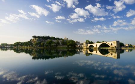 Обои франция, Авиньон, мост, река