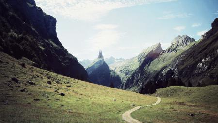 Заставки дорога, замок, гора