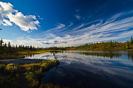 Фото небо, облака, река, лес