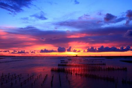 Фото закат, небо, водяные, поля