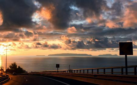 Заставки закат, дорога, машина