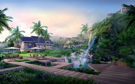 Заставки Дома, пальмы, водопад, холм