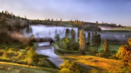 Заставки рассвет, туман, холмы, река