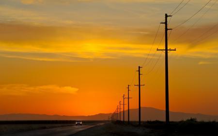 Фотографии sunset, power lines, california, usa