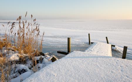 Картинки зима, снег, озеро, пейзаж