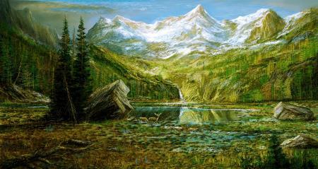 Обои горы, озеро, лес, олени