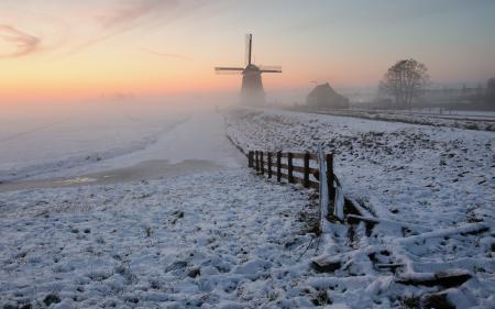 Обои поле, закат, мельница, зима