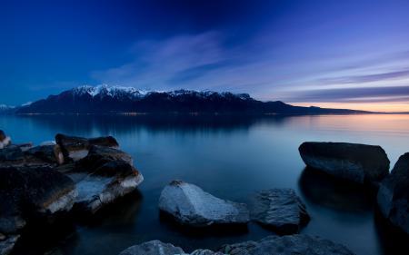 Фотографии озеро, камни, ночь, пейзаж