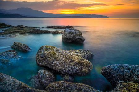 Фото пейзаж, озеро, горы, закат