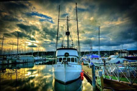 Картинки Poulsbo Marina, Washington, сша, небо