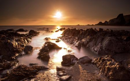 Заставки ночь, море, скалы