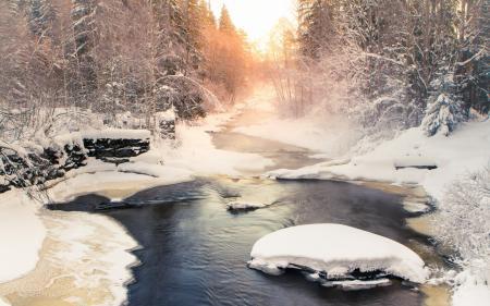 Обои зима, река, пейзаж