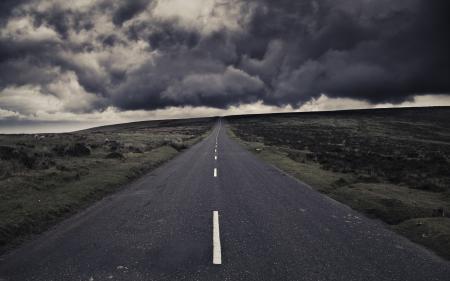 Заставки дорога, шторм, полоса, облака