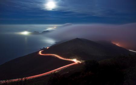 Фото ночь, холмы, дорога