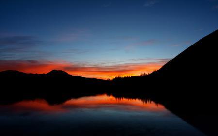 Обои heaven, закат, горы, лес