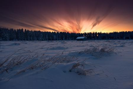 Картинки Fiery Sky, зима, небо, закат