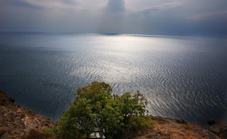 Обои Крым, горы, Черное, волны