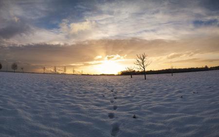 Фотографии зима, Небо, след