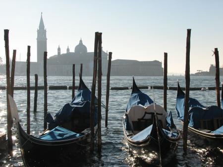Фото венеция, гондолы, утро, канал