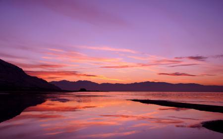 Картинки озеро, закат, небо