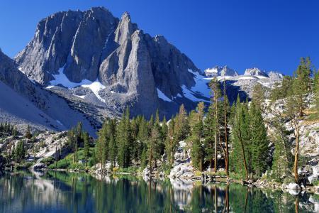 Обои США, Калифорния, озеро, лес