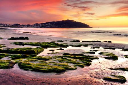 Фотографии закат, холм, камни, море