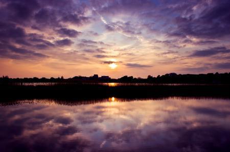 Картинки небо, закат, река, солнце