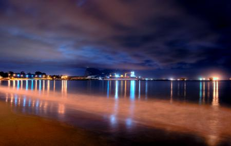 Обои море, пляж, вечер, док