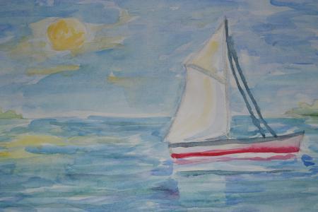 Фотографии рисунок, акварель, море, парусник