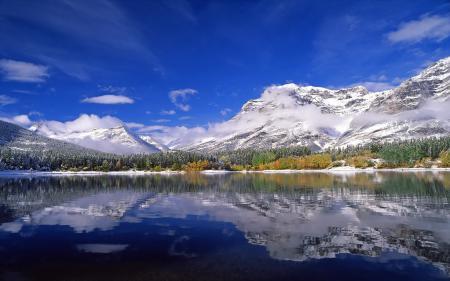 Заставки Канада, горы, снег, лес