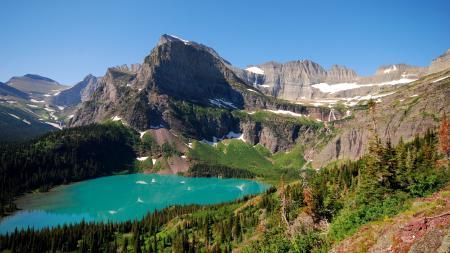 Заставки горы, лес, деревья, озеро