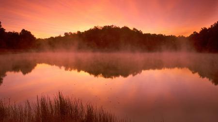Картинки пейзаж, природа, озеро, пар
