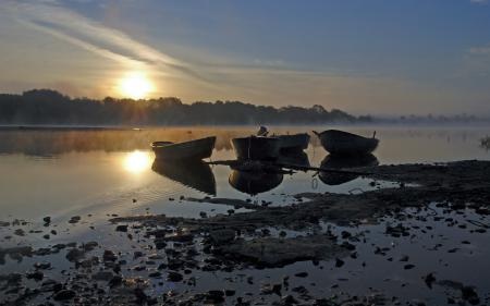 Картинки закат, озеро, лодки, пейзаж