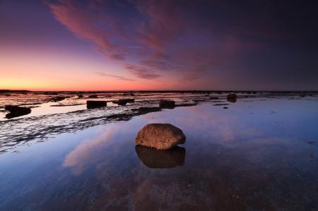 Фото закат, море, небо, камень