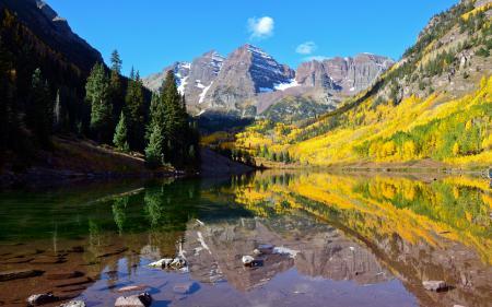 Обои озеро, горы, деревья