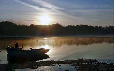 Фотографии озеро, утро, туман, лодка