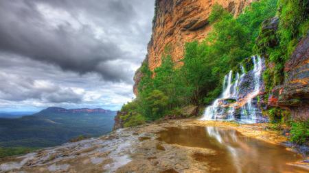 Фотографии водопад, горы, деревья