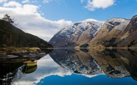 Заставки Природа, горы, озеро, лодка