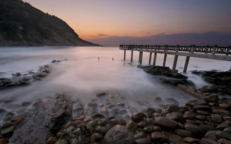 Фото море, закат, мост, пейзаж