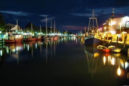 Обои ночь, небо, облака, гавань