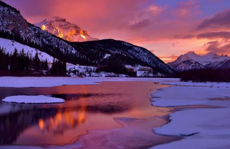 Обои озеро, горы, отражение, небо