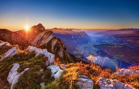 Фото горы, долина, рассвет, вид