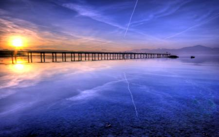 Фото закат, озеро, мост, пейзаж