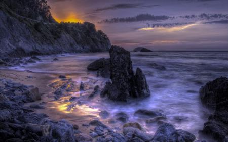 Обои море, ночь, скалы, природа