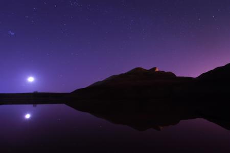 Картинки ночь, холмы, звезды, луна