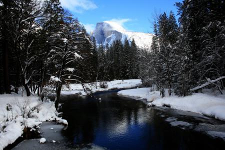Фотографии зима, деревья, снег, река