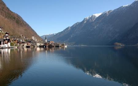 Заставки austria, австрия, озеро, городок