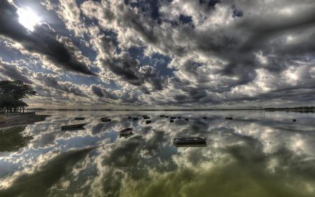 Картинки лодки, отображение, небосвод