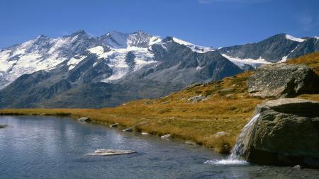Заставки горы, заснеженные, озеро, трава